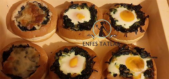 Hamburger Ekmeğinde Yumurtalı Ispanak